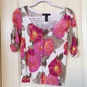 Floral cardigan with sleeve ruching